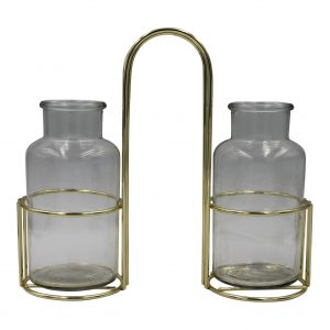 HV Dubbel Vaasje Met Metalen Houder - Goud