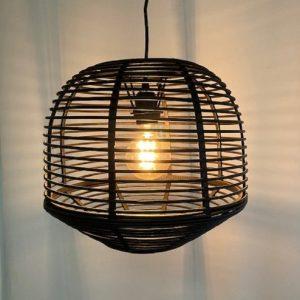 Ronde Bamboe Hanglamp - Zwart