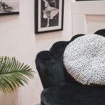 HV Rond Velvet Kussen - Cheetah (Zwart-Wit Gestippeld)