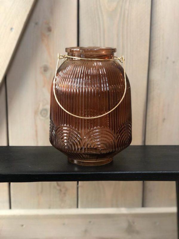 Glazen Vaas / Windlicht Met Gouden Hengsel - Bruin