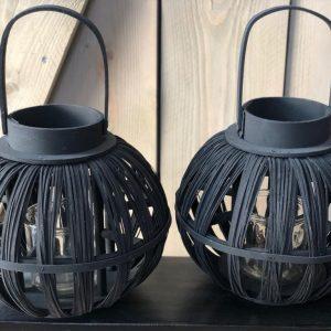 Windlicht Bamboe - Zwart