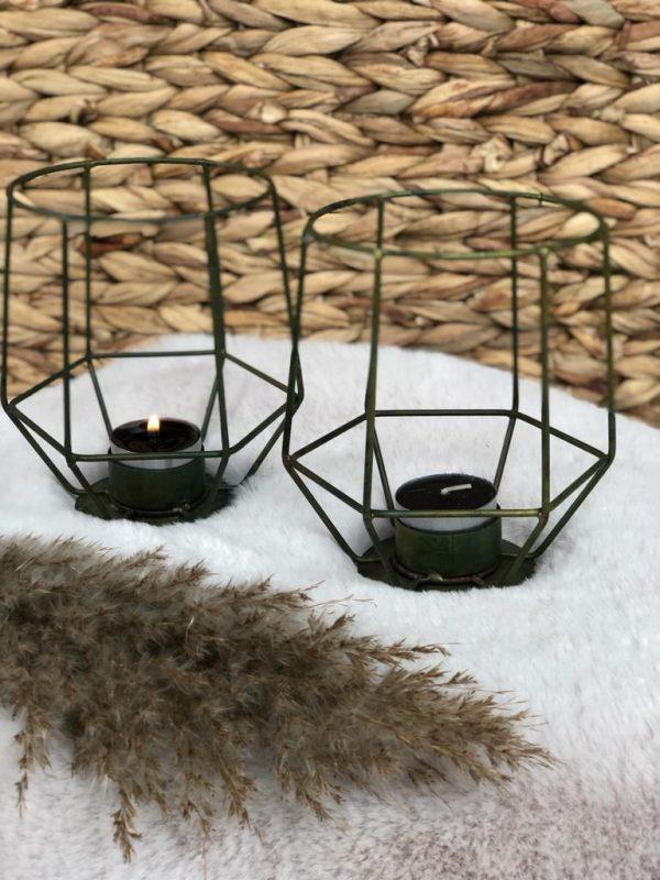 Metalen Waxinelichthouder - Groen / Brons