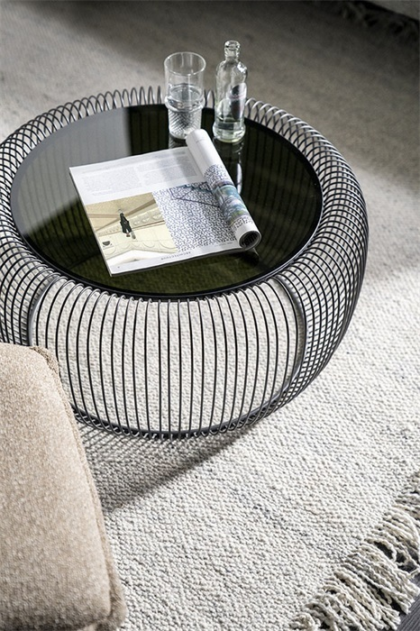 By-Boo Carpet Woolie Crème en Bijzettafel Ribca