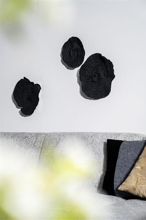 By-Boo Wanddecoratie Rifa (Nagemaakt Koraal) Set Van Drie - Zwart