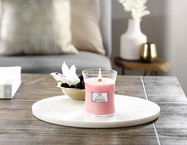 WoodWick Candle Melon & Pink Quartz - Medium