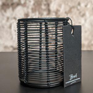 Bob Zwarte Waxinelichthouder Met Metalen Draden - Small