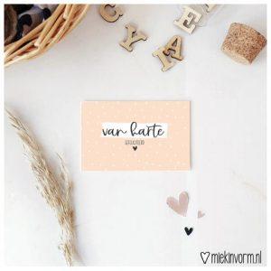 MIEKinvorm Mini Kaartje - Van Harte Gefeliciteerd