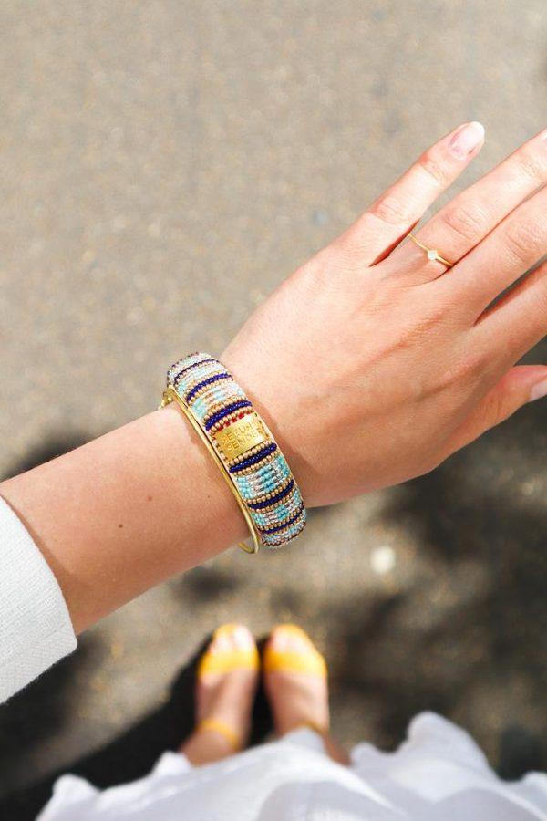 Return To Sender Beaded Bracelet Smal - Blauw / Licht Blauw